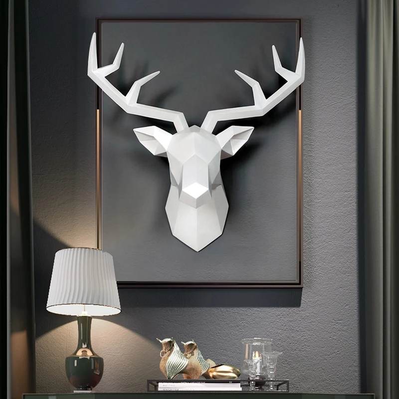 3d Abstract Deer Head Sculpture Deer Head Decor Wall Sculptures Metal Wall Sculpture