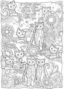 Many Cats Coloring Page
