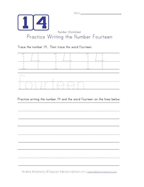Writing Number Fourteen 14 childrens worksheets – Number 14 Worksheets