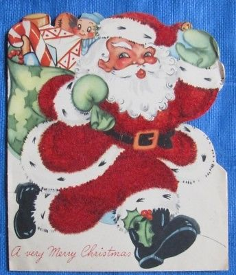 SANTA HURRYING WITH PRESENTS RED FLOCKING VINTAGE CHRISTMAS GREETING