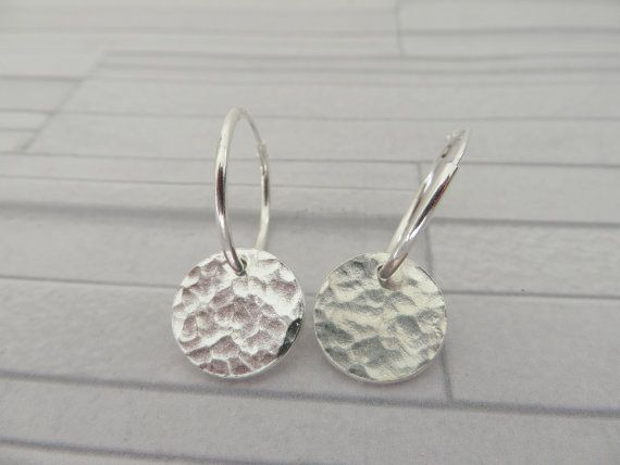Silver Disc Earrings Fine Hammered Textured Dangle Made In The Uk
