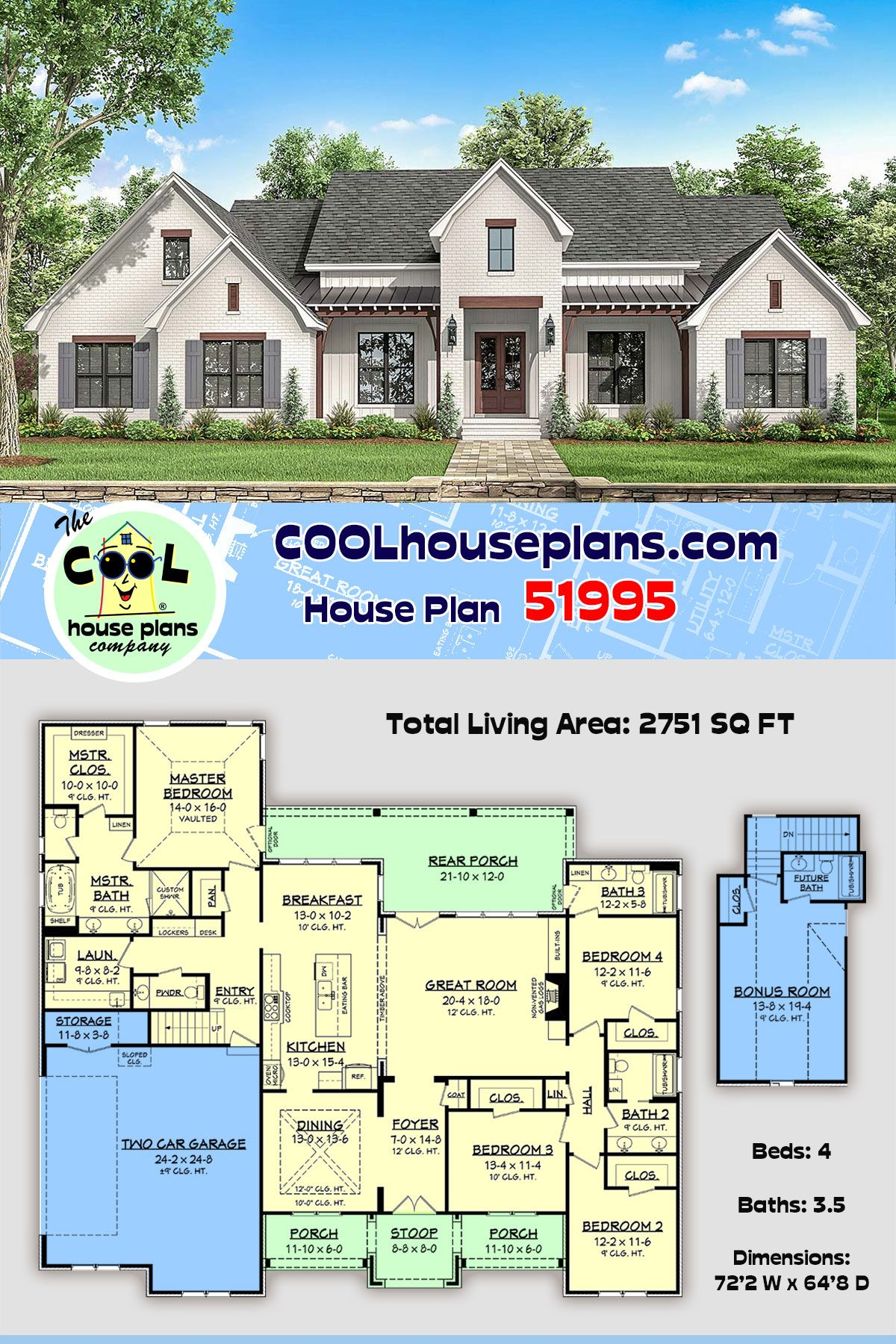 Traditional Style House Plan 51995 With 4 Bed 4 Bath 2 Car Garage In 2020 House Plans House Plans Farmhouse New House Plans