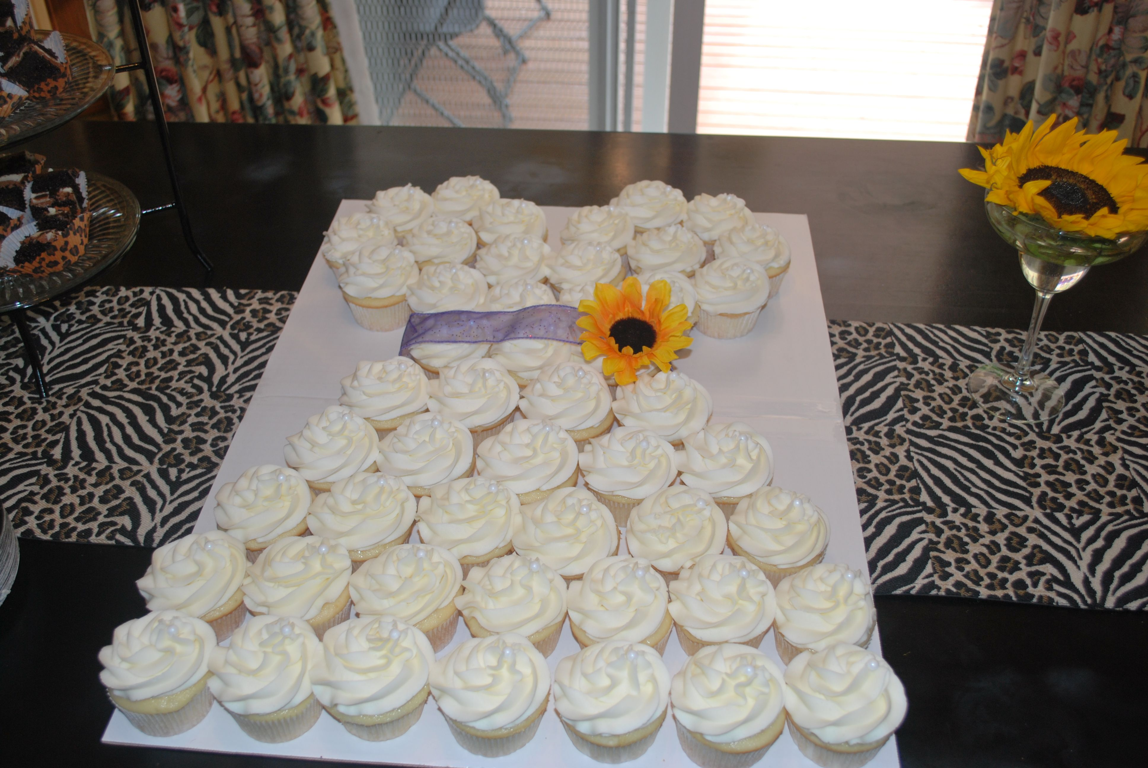 Bridal Shower Cupcakes in the shape of a wedding dress
