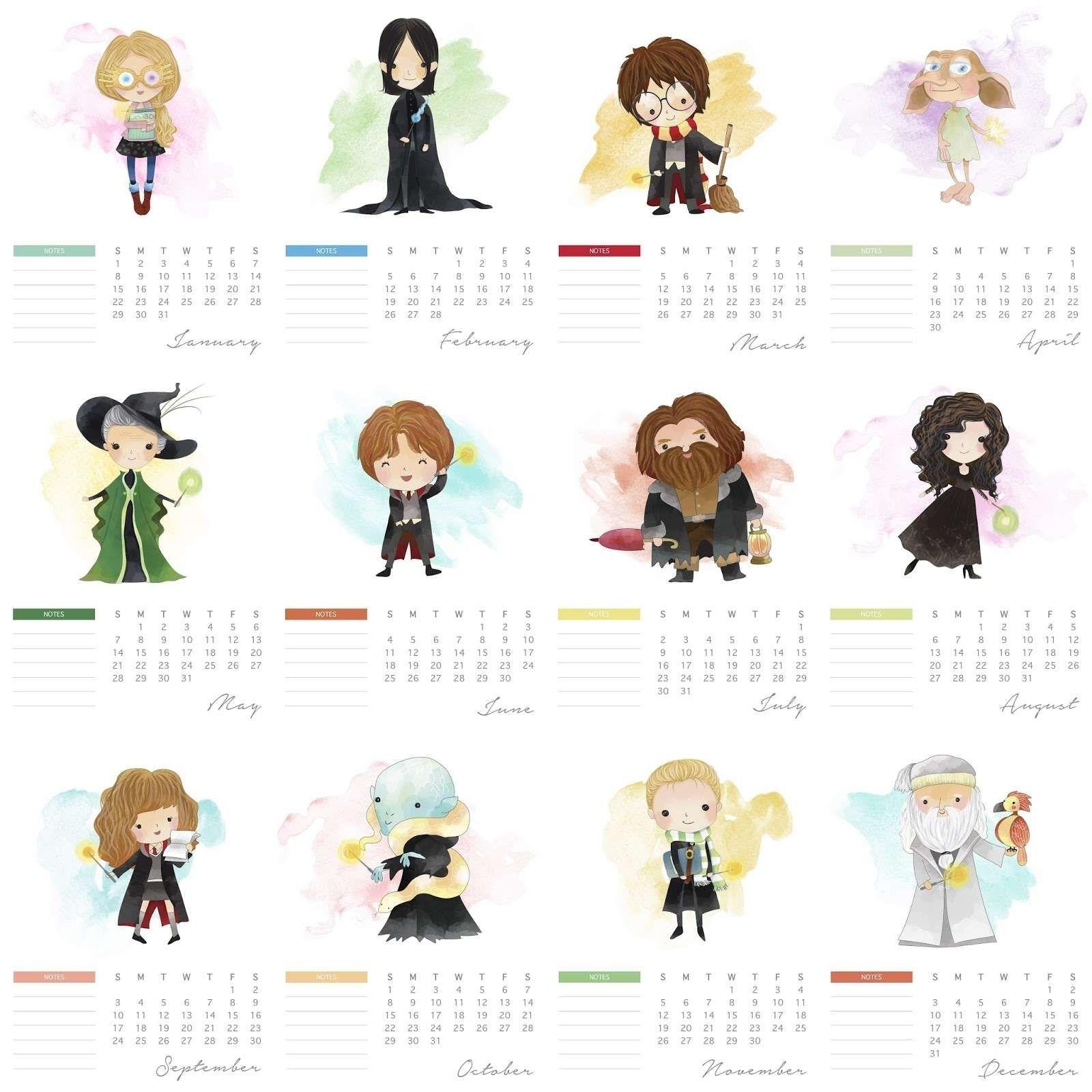 Free Printable Calendar Harry Potter   Harry potter ...