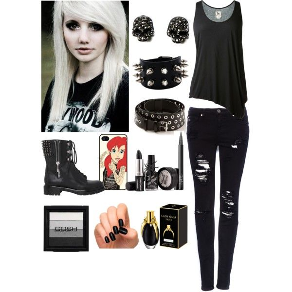Gothic/ Emo Girl OOTD by therealairiana on Polyvore featuring Lu0026#39;Agence Pullu0026Bear Sergio Rossi ...