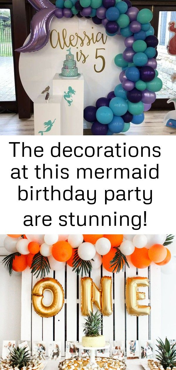 The decorations at this mermaid birthday party are stunning! seemore party ideas and share yours a 2 #tropicalbirthdayparty