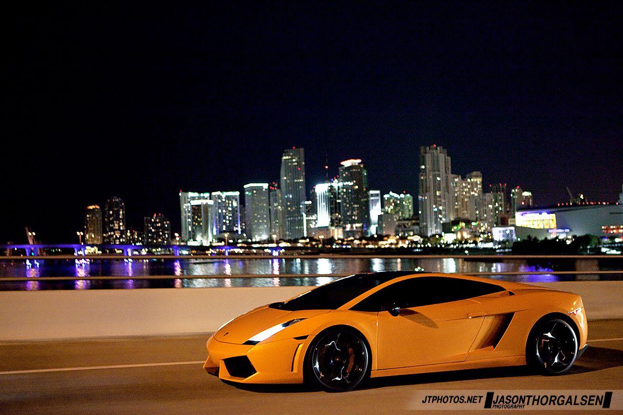 Lamborghini At Night In Miami Lamborghini Cool Supercars Automotive Photography