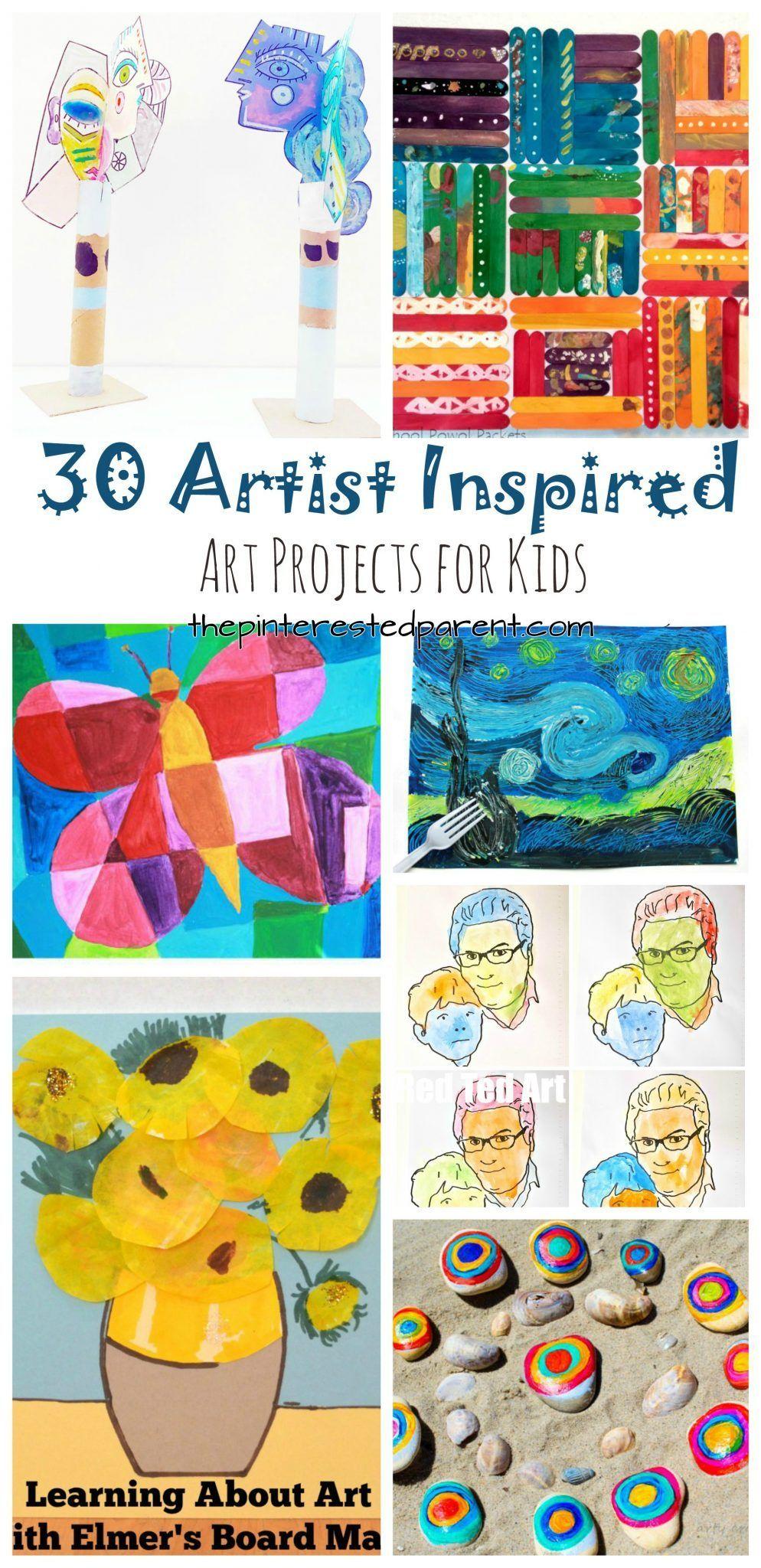 30 Artist Inspired Art Projects For Kids The Pinterested Parent Homeschool Art Kids Art Projects Artists For Kids