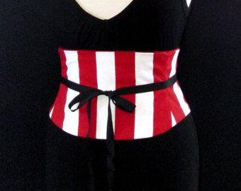 Carnival Corset Waist Cincher Black and White Stripe Red Satin 20 inch  Waist Alice in Wonderland  Circus