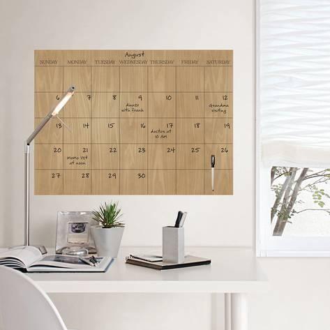 Faux Hardwood Dry Erase Calendar Wall Decal Dry Erase Calendar