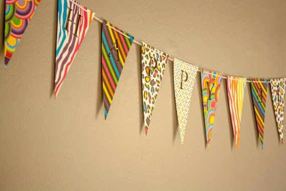 Happy Birthday Banner -Bunting (Sign, Flags, Pennants) in Retro / Funky Prints. Perfect for Party Decoration