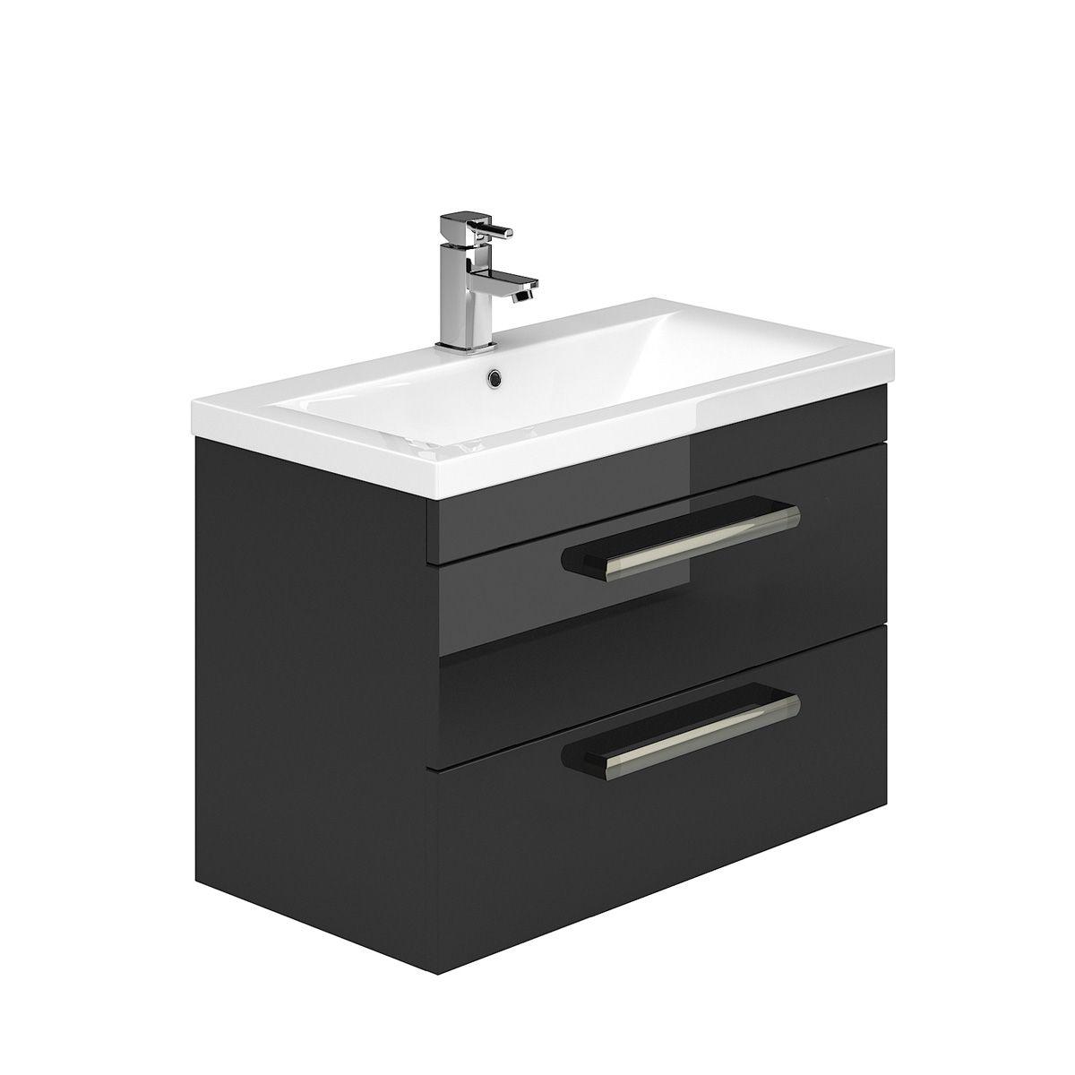 technique black gloss floorstanding vanity unit bath house