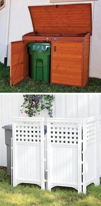 Keep those trash cans hidden! ~ I love these curb appeal ideas and exterior makeovers! Lots of easy DIY projects on a budget for your entryway, landscaping, porch, front yard, garage doors and more! Before and after photos included. | Listotic.com #curbappeallandscape