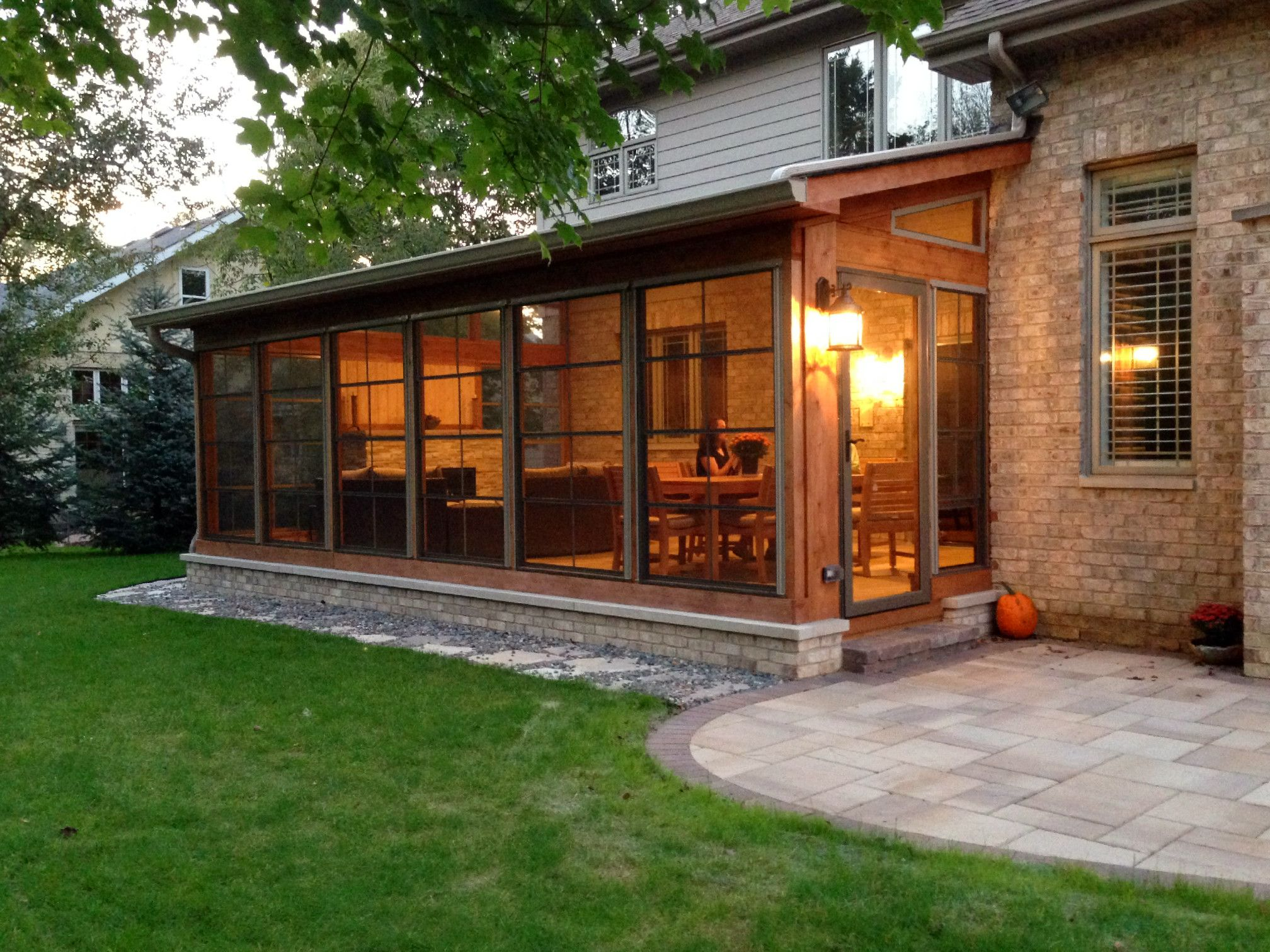 Cedar Screen Porch With Eze Breeze Windows By Suburbs Of Chicago