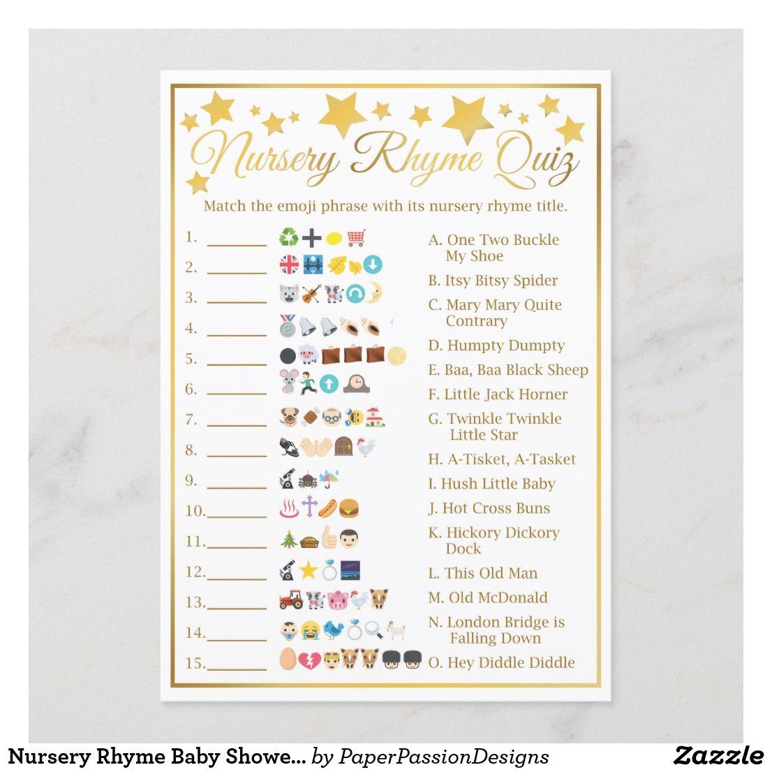 Nursery Rhyme Baby Shower Emoji Game Gold Star | Zazzle ...