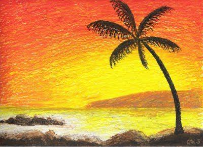 Paradise Sunset Oil Pastel Art Oil Pastel Landscape