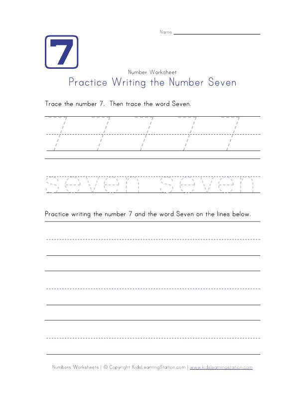 writing number seven 7 kids learning writing numbers writing practice number worksheets. Black Bedroom Furniture Sets. Home Design Ideas