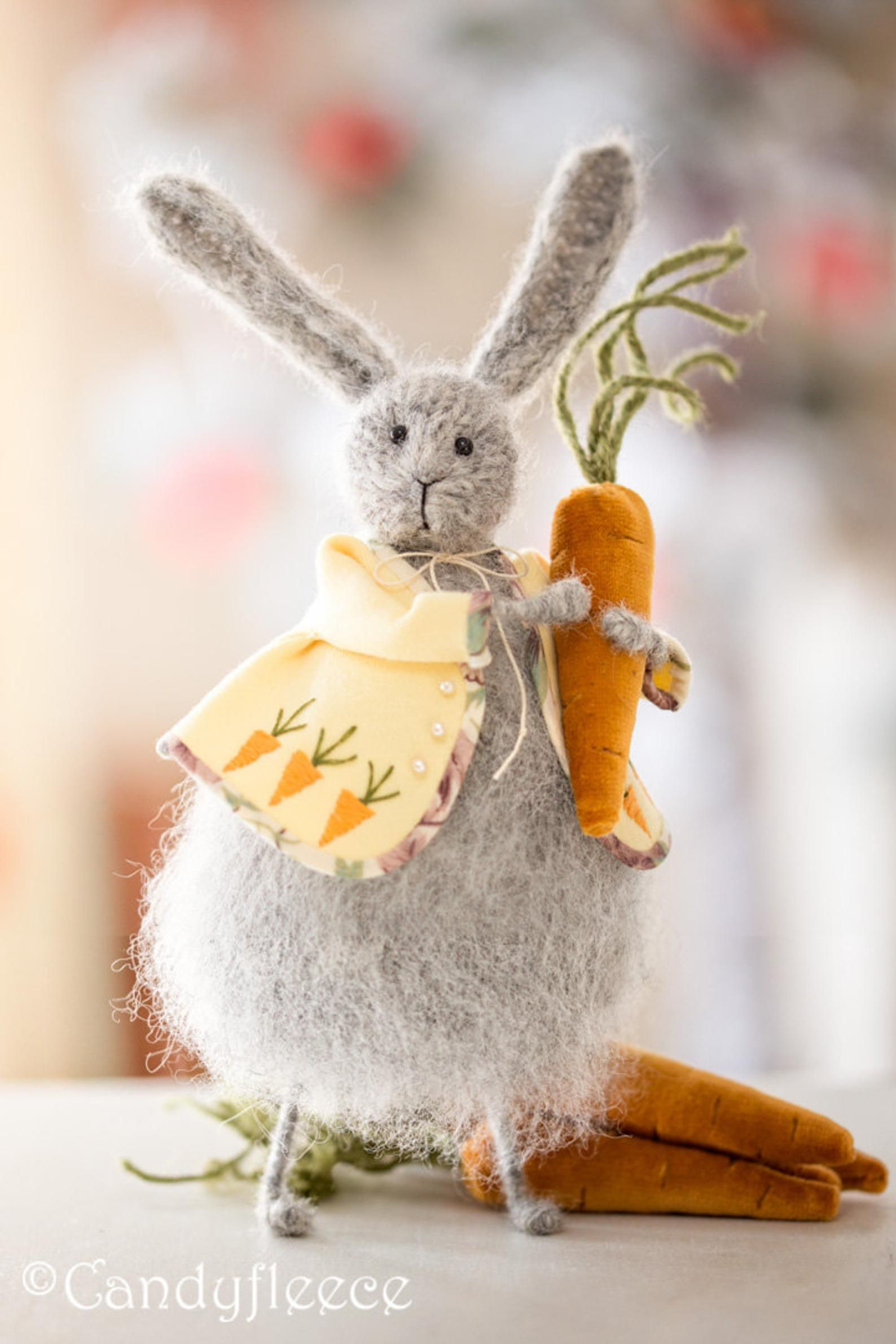Easter rabbit decoration easter bunny plush grey knit