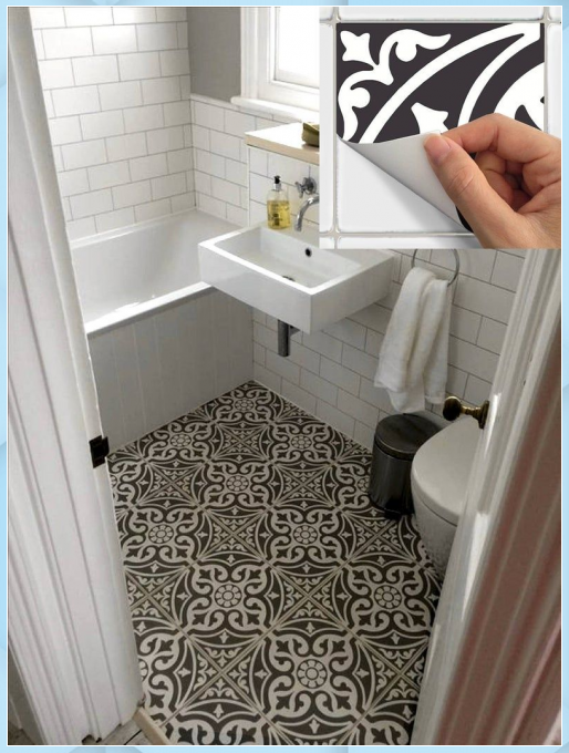 Floor Tile Sticker For Kitchen Bath Waterproof Remo In 2020 Fliesenaufkleber Badezimmer Renovieren Ideen Bodenbelag
