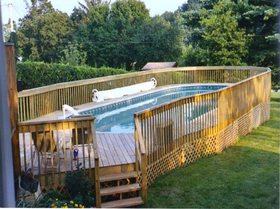Fascinating Above Ground Pool Fence Ideas With Wooden Lattice Panel For Pool Deck Skirting Ideas