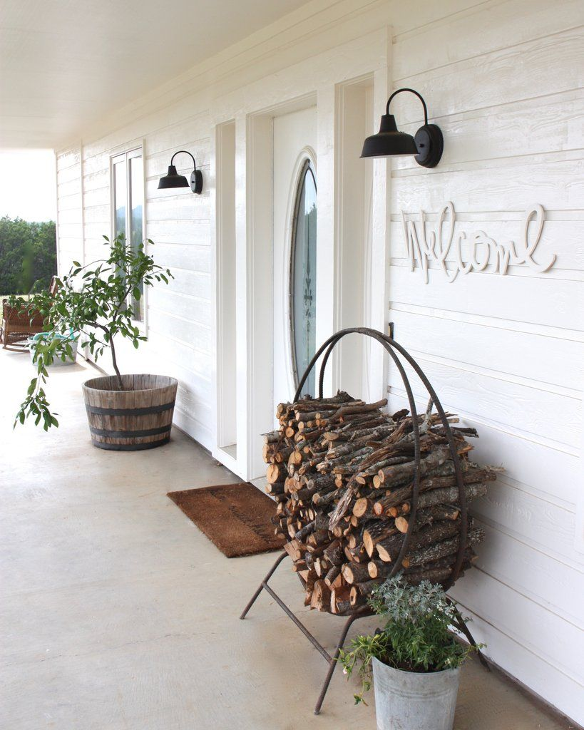 A Warm Welcome The Festive Farmhouse love the warmth a wood stack