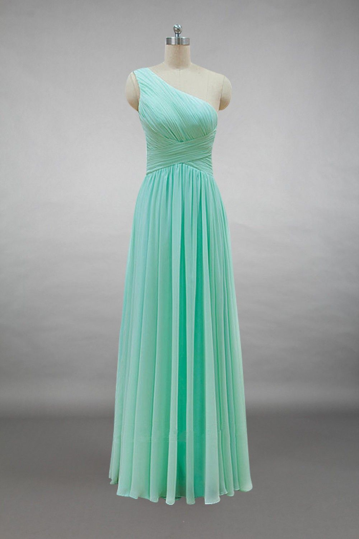 0cd895f7fd3 One-shoulder Mint Chiffon Long Bridesmaid Dress | Chiffon Bridesmaid ...