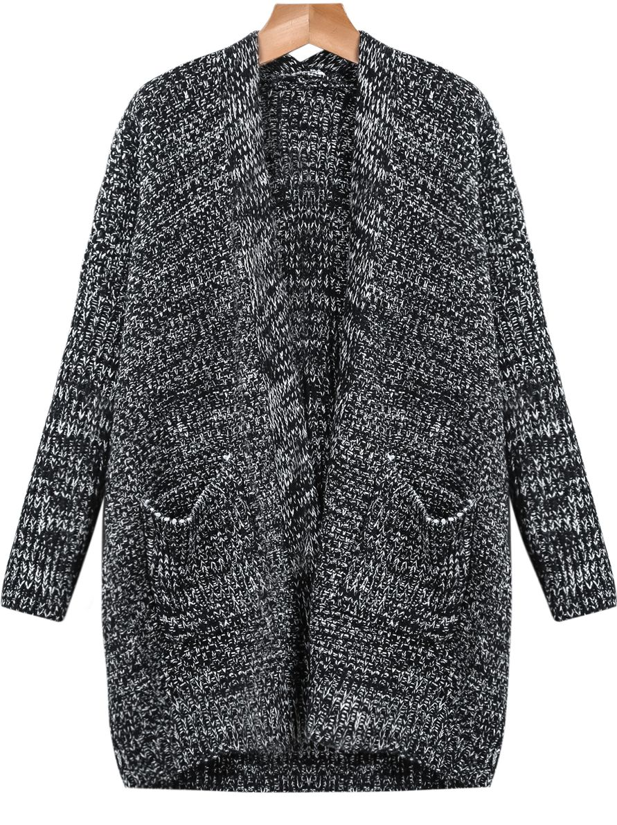 Shop Black Long Sleeve Pockets Knit Cardigan online. Sheinside offers Black  Long Sleeve Pockets Knit Cardigan   more to fit your fashionable needs. b14435413