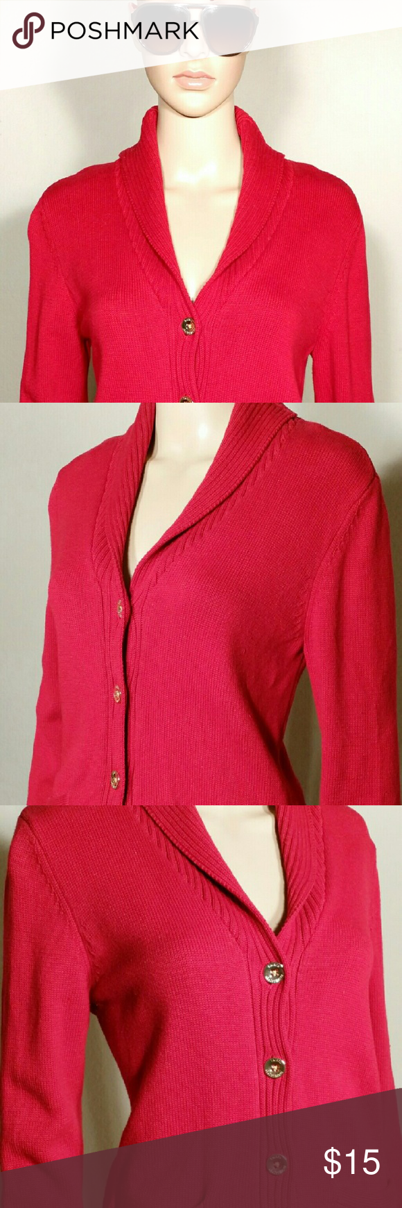 Ralph Lauren Womens Red Button Cardigan Size M MEDIUM - 100% Cotton In very good condition!! Very Adorable!! Fast Shipping!! Ralph Lauren Sweaters Cardigans