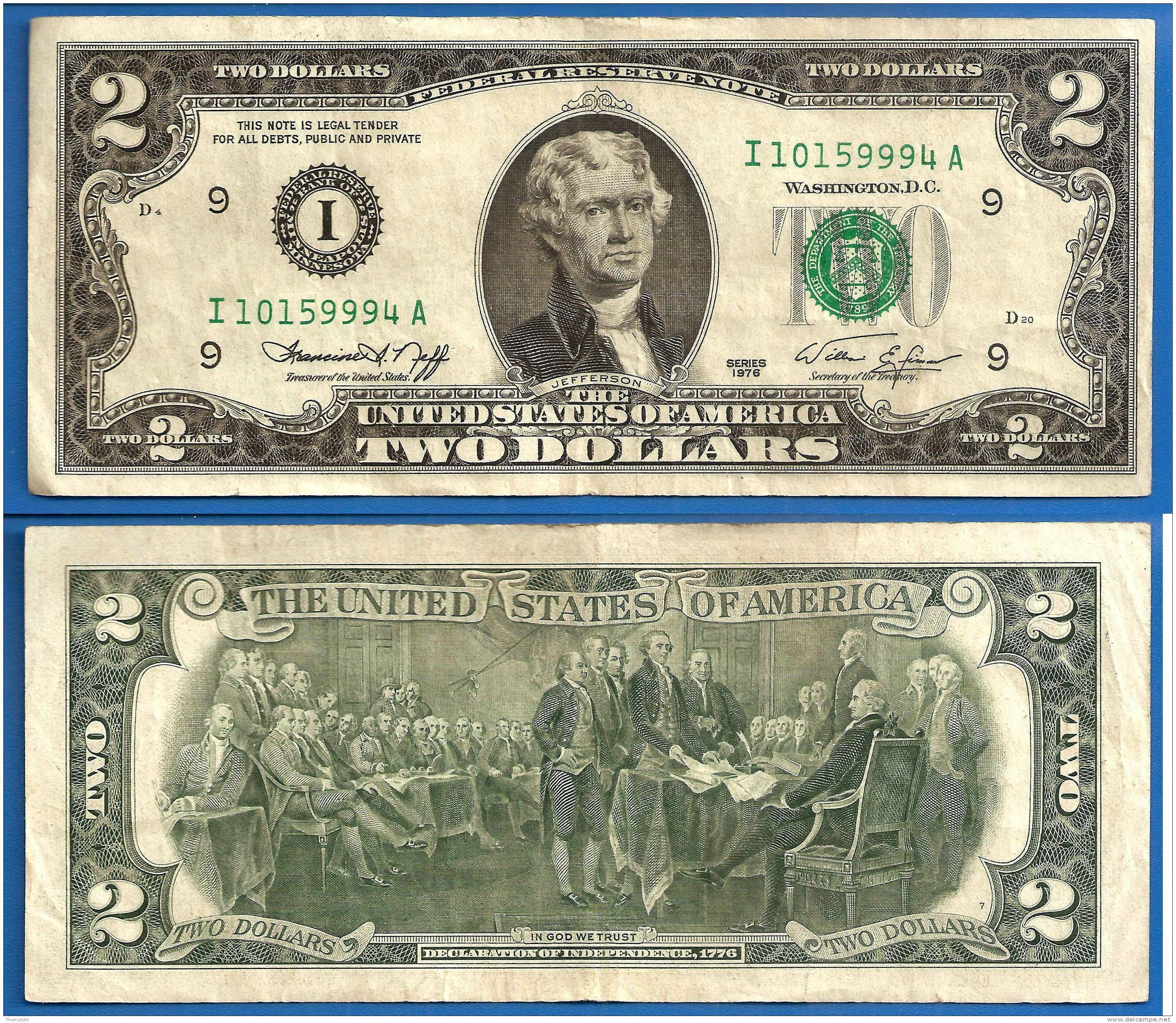 Usa 2 Dollars 1976 Jefferson Mint Minneapolis I9 Prefix E Etats Unis United States Dollars Us Billet De Banque Tableau Pop Art Dollar