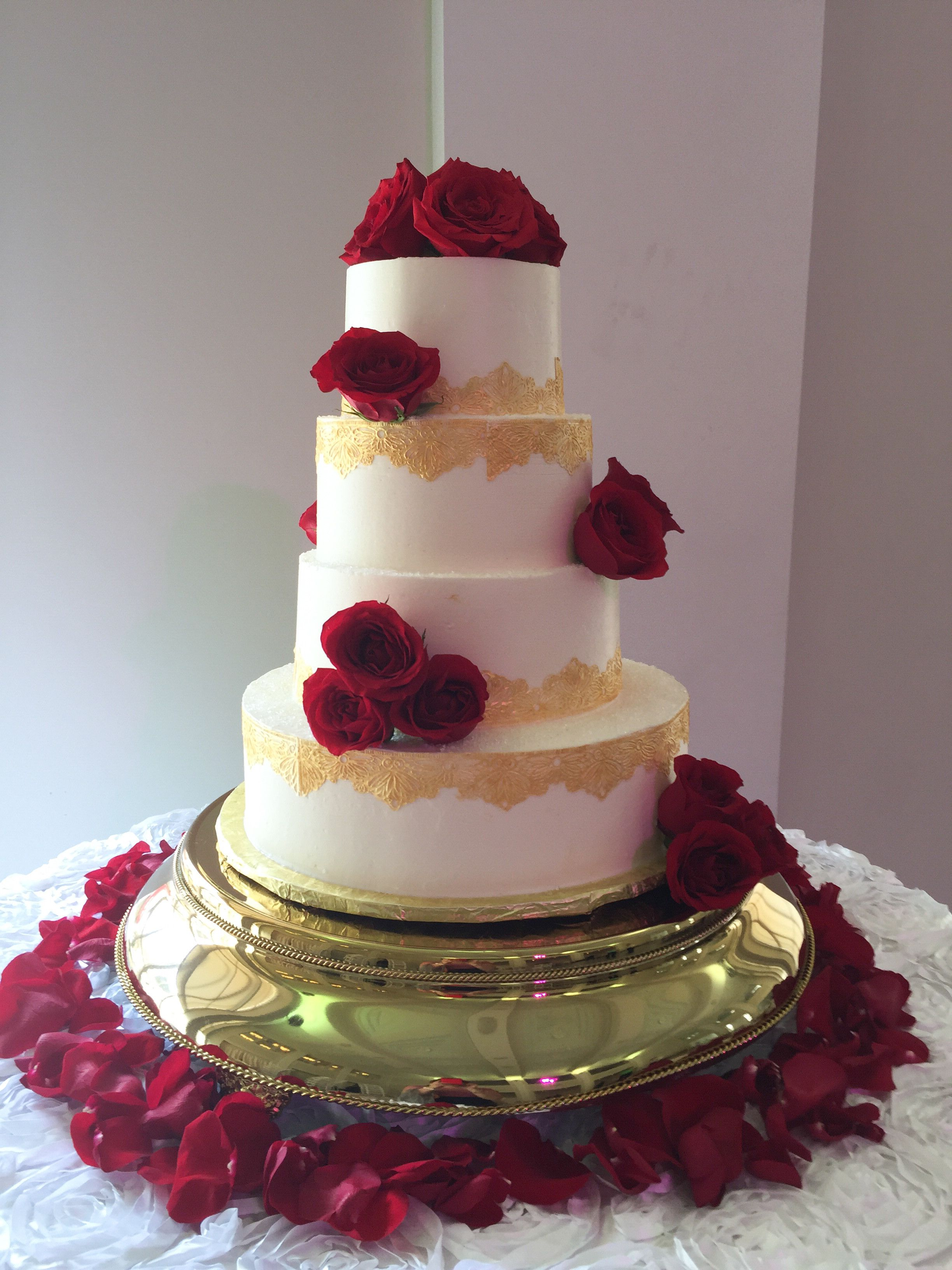 Gold lace and red rose wedding cake a piece of cake pinterest