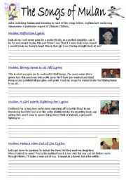 Worksheets Mulan Worksheet english worksheet the songs from mulan china pinterest mulan