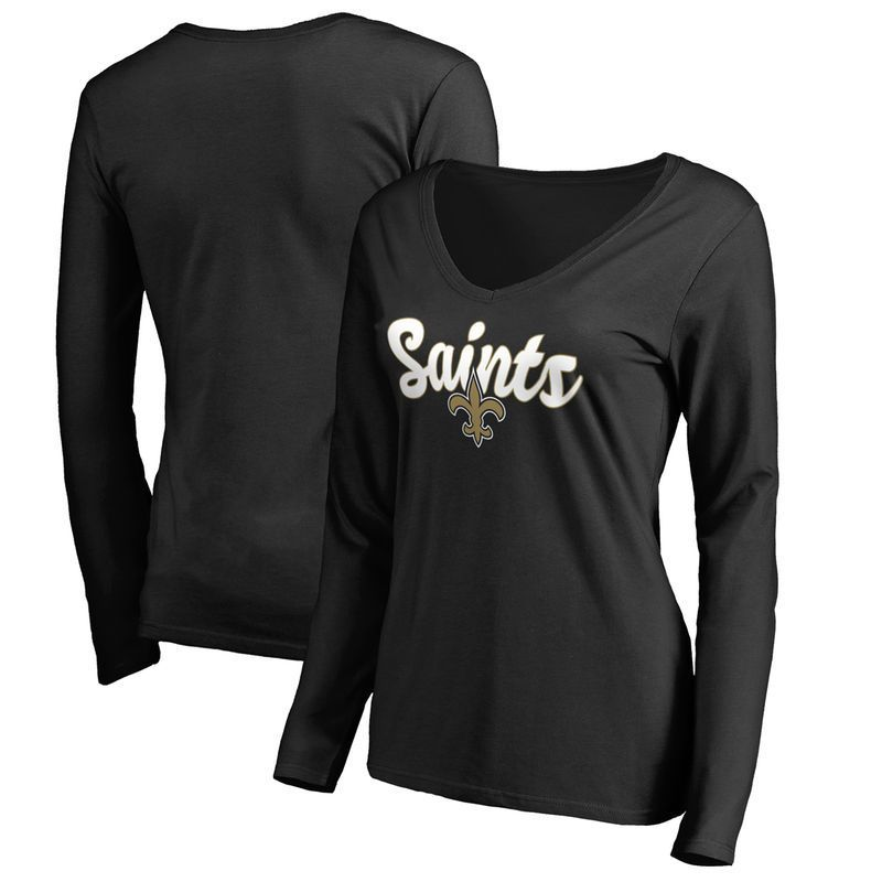 432008c27 New Orleans Saints Women's Plus Sizes Freehand Long Sleeve T-Shirt - Black