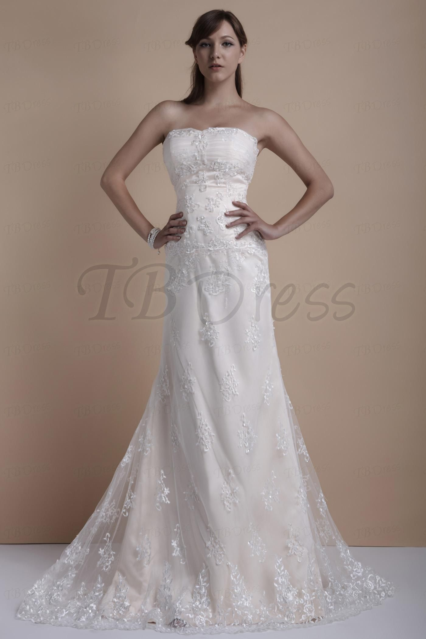 Luxury sheathcolumn strapless court train over lace elaus wedding