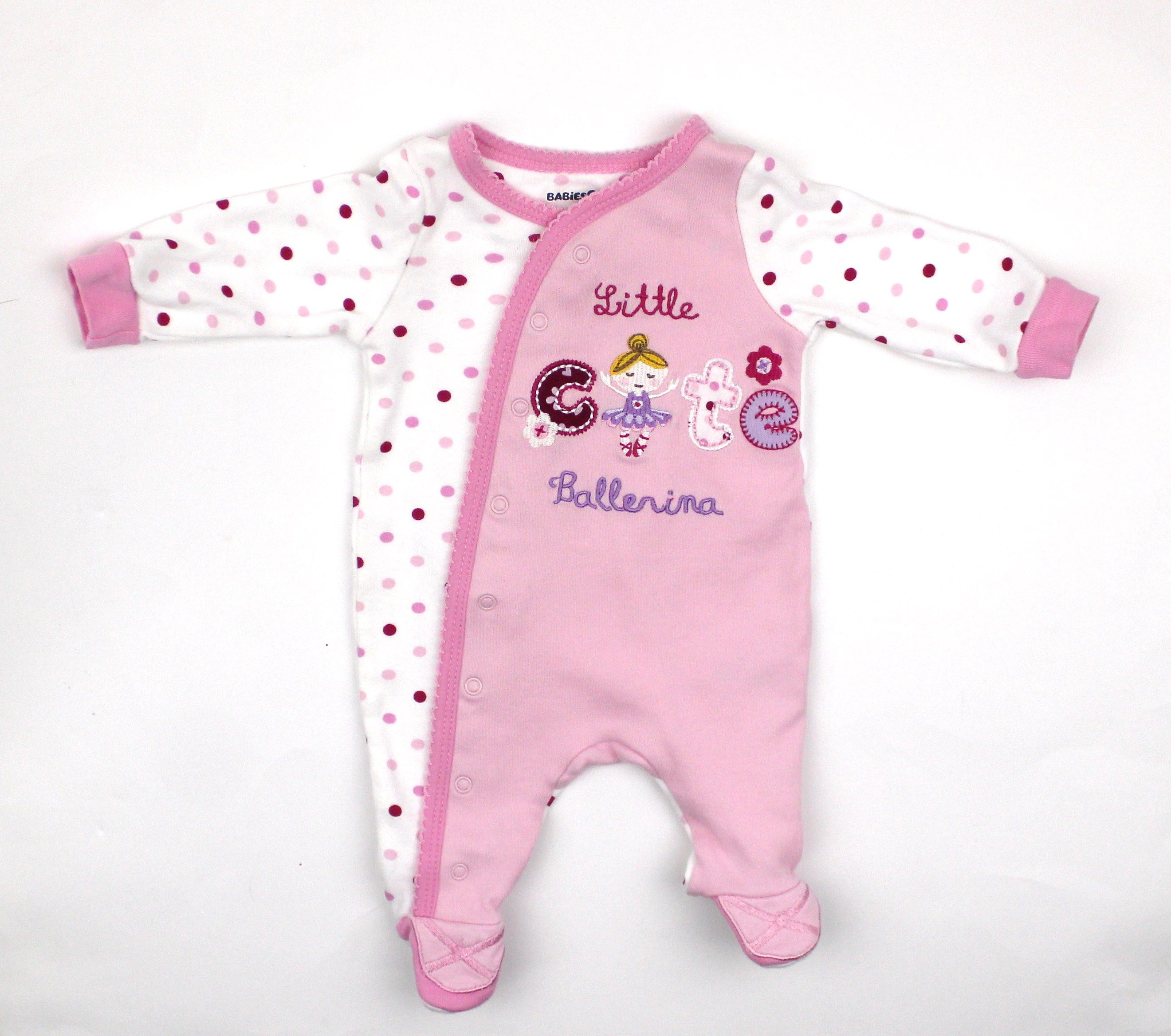 Newborn Baby Girl Pink Sleeper with Ballerina only 3.50
