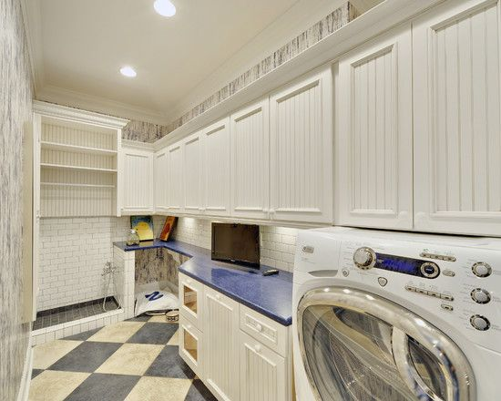 Mudroom with dog wash feeding area and laundry home for Basement mudroom ideas