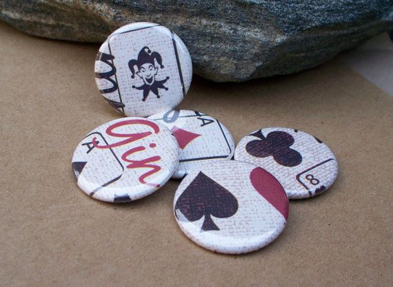 Lucky Hand - set of 5 playing card themed button magnets by jessijewels, $6.00