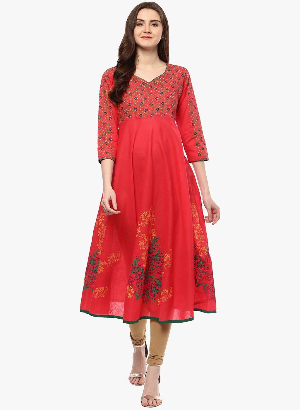 052c6ff2938 Riya Pink Printed Anarkali Kurta  Pink  Printed  Anarkali  Kurta ...