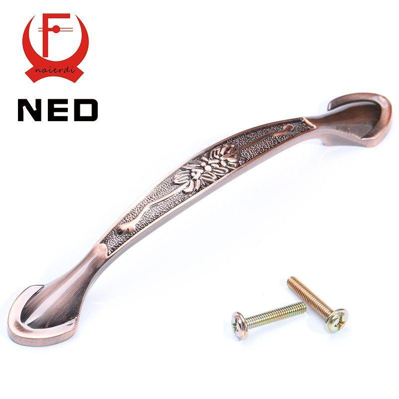 NED-RB8019 European Flower Pattern Red Bronze Kitchen Cabinet Knobs Cupboard Handles Wardrobe Drawer Pulls Furniture Hardware