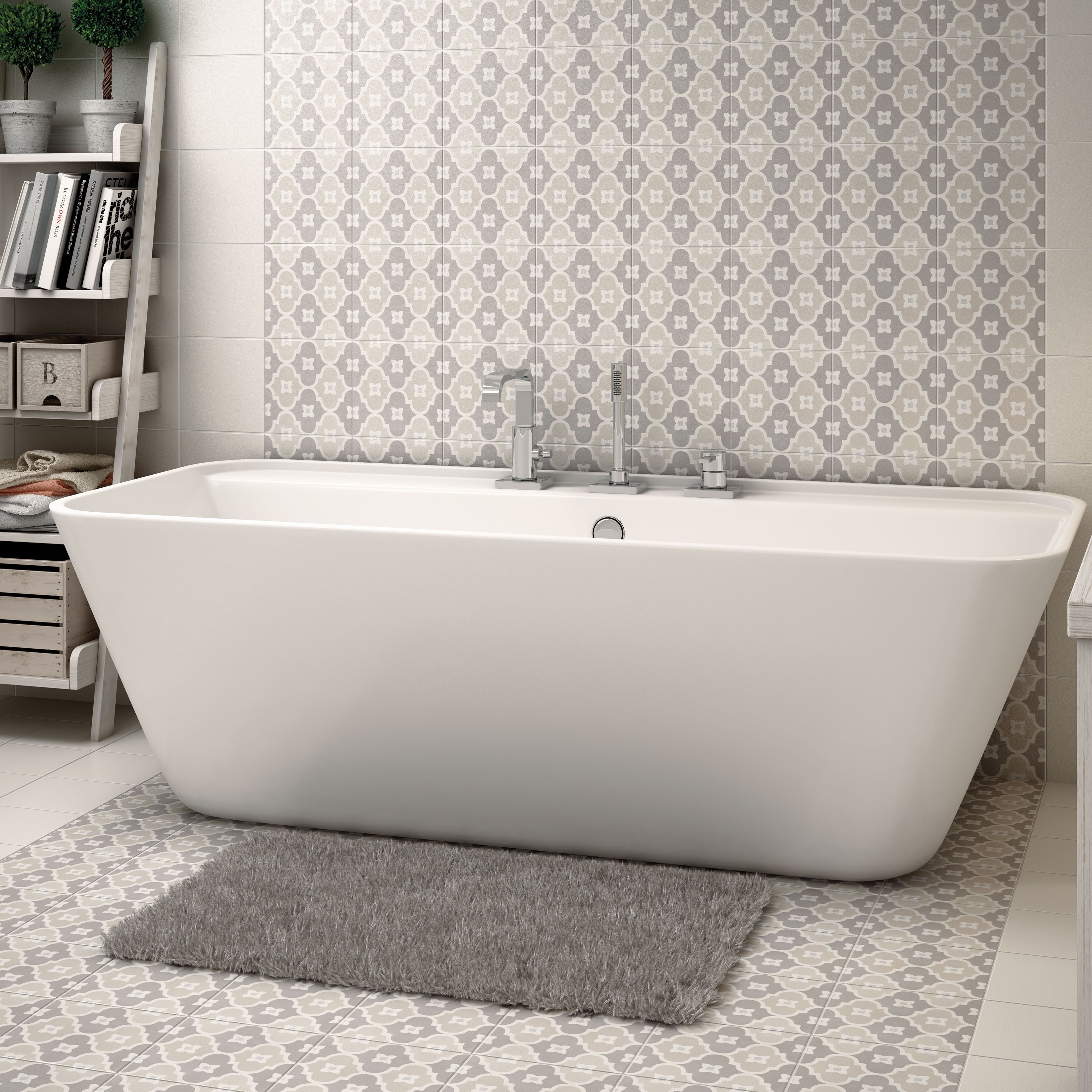 Buy somertile from overstock for everyday discount prices online beautiful modern contemporary bathroom in pastel grey with wall and floor tiles by equipe ceramicas dailygadgetfo Images