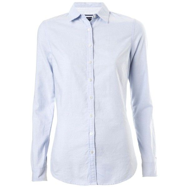 5b97eca9 Tommy Hilfiger Oxford fitted shirt (4,965 PHP) ❤ liked on Polyvore  featuring tops, men, shirts, mens shirts, blouses, light blue, women,  cotton oxford ...