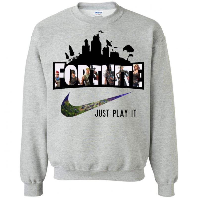 a974cb70 Nike Fortnite Just Play It Sweatshirt - Shop Freeship US Clothing,  Accessories, Gifts for Unicorn, Holidays, Birthday, Sport and Movies