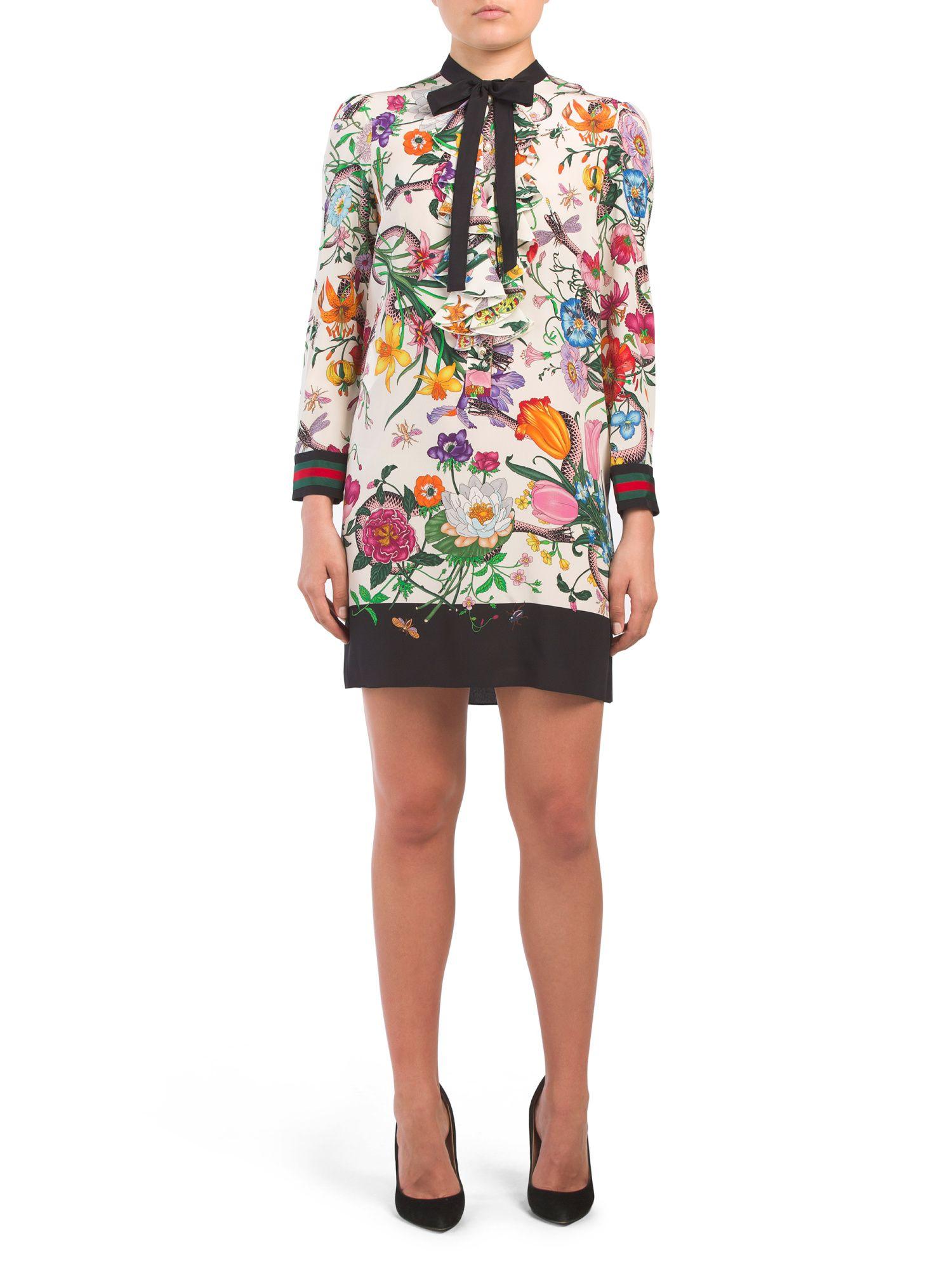 0f73628f6d93 Made In Italy Tie Neck Silk Floral Dress - Women - T.J.Maxx ...