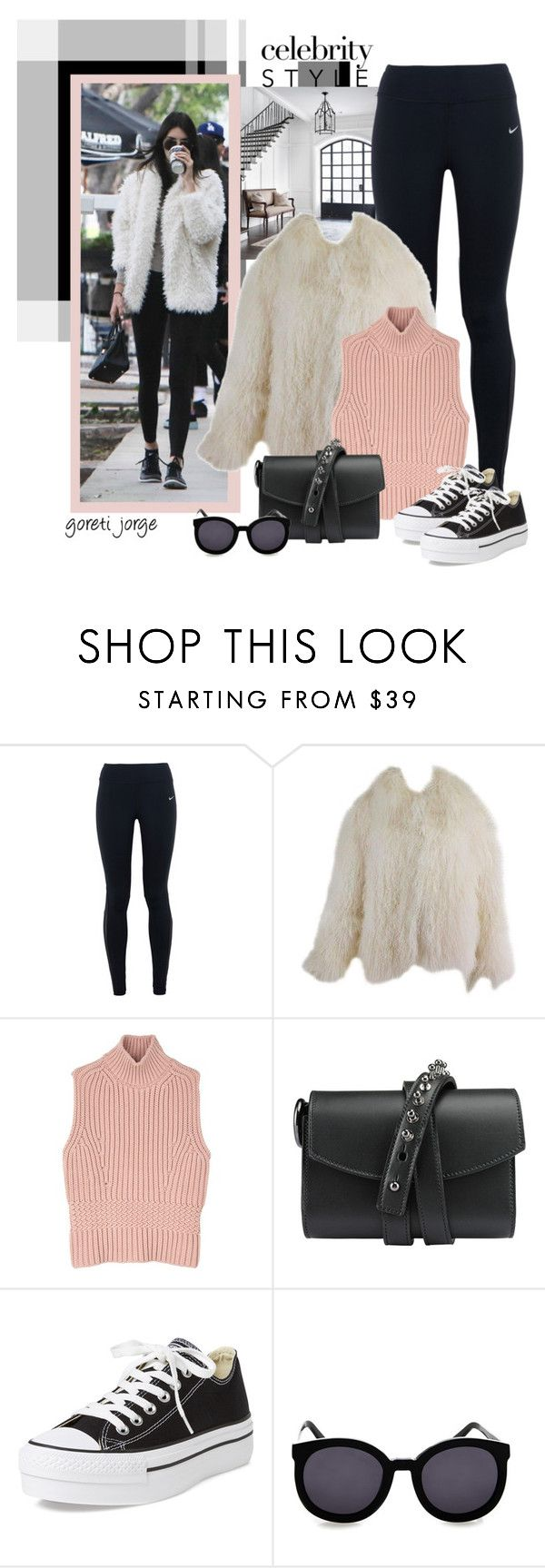 """""""Cropped Faux Fur Coats"""" by goreti ❤ liked on Polyvore featuring NIKE, Diesel Black Gold, Loes Vrij, Converse, Karen Walker, women's clothing, women, female, woman and misses"""
