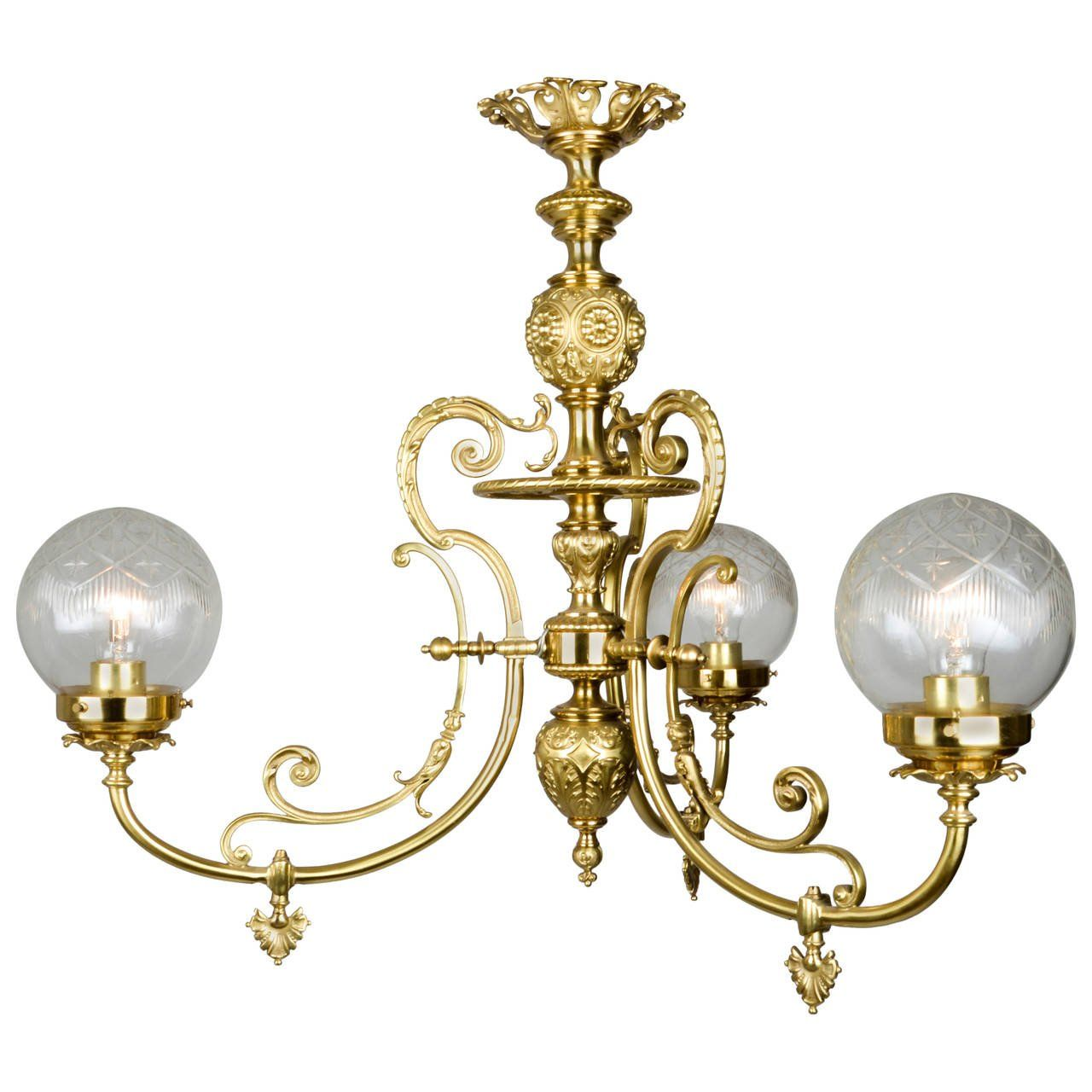Late 19th century neoclassical brass gaslight chandelier late 19th century neoclassical brass gaslight chandelier arubaitofo Images