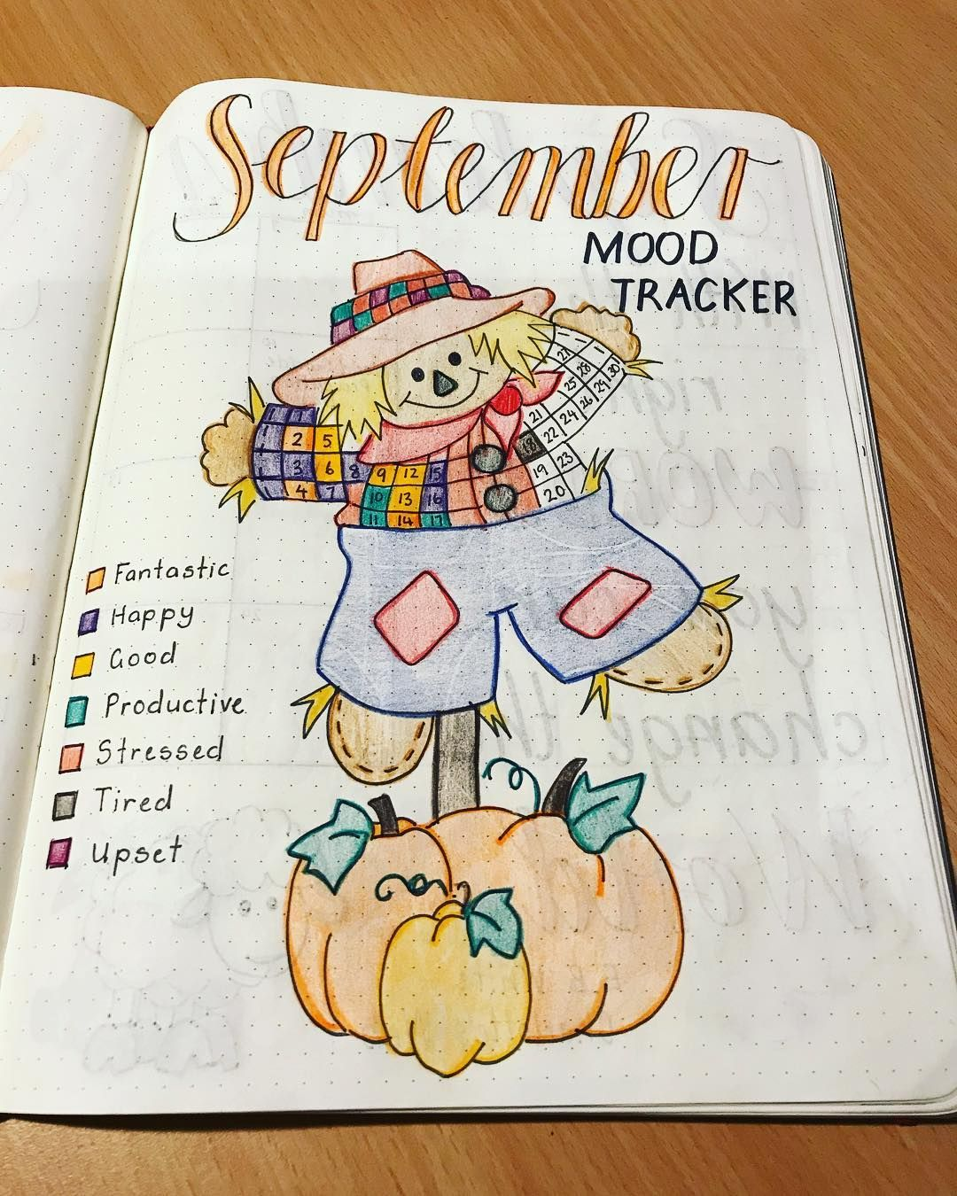 Mid month check of my #september #moodtracker #septemberbulletjournalcover