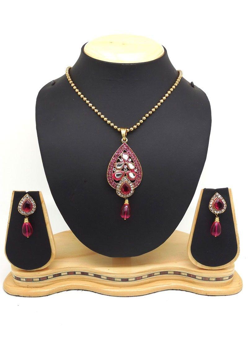 Shop online pink gold pendantset chennaistore pendant sets