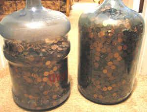 Use A 5 Gallon Plastic Water Jug As A Penny Drop Fundraiser Force A Flexible Cup Maybe A Silicon Muffin Cup Gallon Water Jug Decorated Water Bottles Gallon