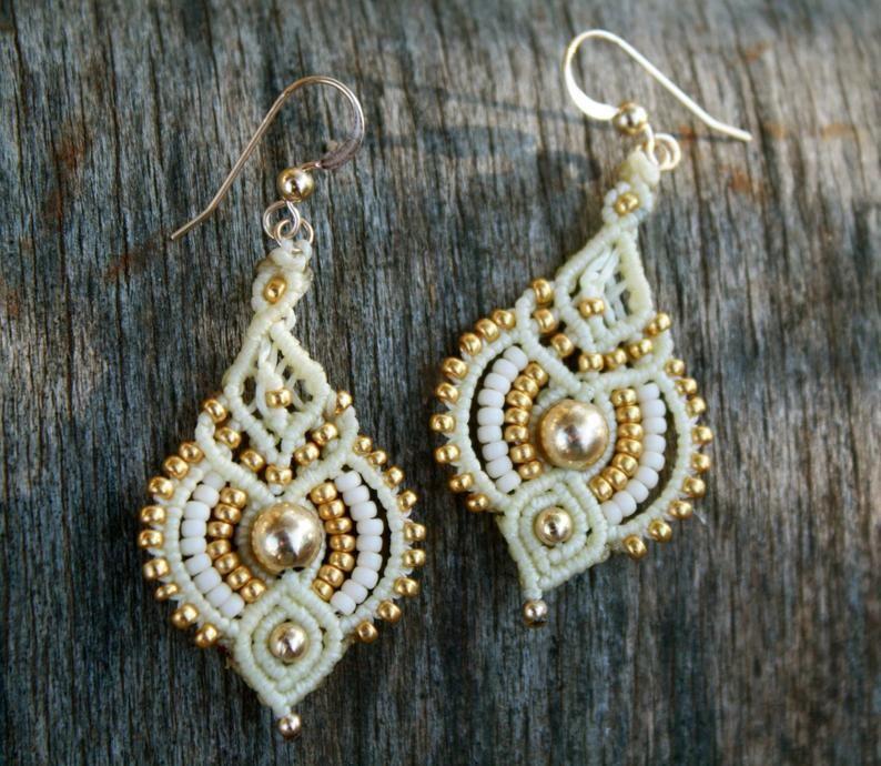 Ivory and gold bridal earrings, gold drop earrings, bridal jewelry, macrame. makrame, ivory dangle, boho drop earrings, ethnic earrings