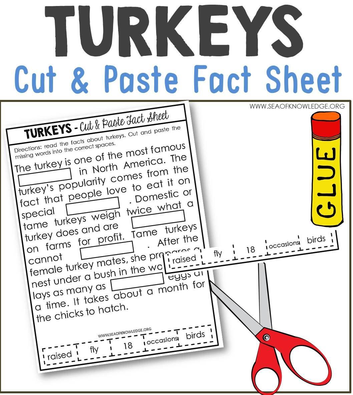 worksheet Nonfiction Worksheets turkeys nonfiction facts cut and paste worksheet worksheets worksheet
