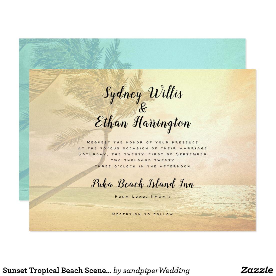 Sunset Tropical Beach Scene Wedding Invitations Zazzle